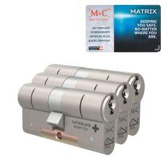 M&C Matrix standaard dubbele cilinder gelijksluitende set van 3 stuks