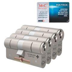 M&C Matrix standaard dubbele cilinder gelijksluitende set van 4 stuks