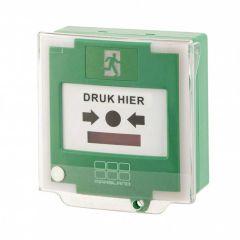 Groene handmelder met vooralarm LED en buzzer