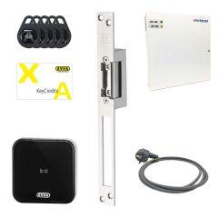 Compleet toegangssysteem elektrische deuropener met wandlezer van Evva Airkey, inclusief 10 keycredits en 5 gebruikerstags.